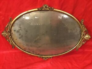 Vtg Antique Bubble Convex Glass Brass Picture Frame Fancy Design