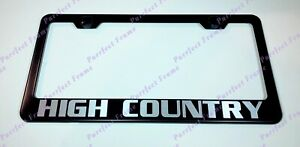 High Country Chevy Silverado Laser Black Stainless Steel License Plate Frame