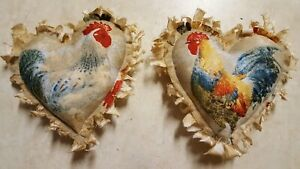 Primitive Ornies Bowl Fillers Grungy Large Chicken Rooster 5 X 5 2 Pc Set