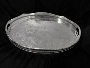 Antique Siver Plated Gallery Tray Made By Sheffield England In 19 Century