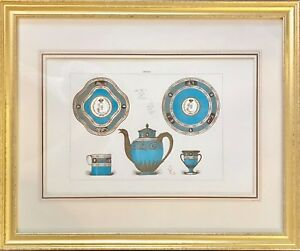Antique French Sevres Chromolithograph Print With Porcelain Items Framed Beauty