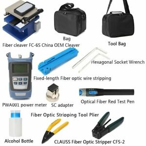 Portable Fiber Optic Tools Kits Cleaver Power Meter Visual Locator Carrying Bags