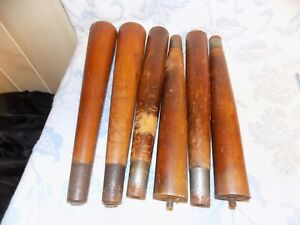 Vintage Mid Century Pencil Table Legs Set Of 6 Metal Shrouded Tips