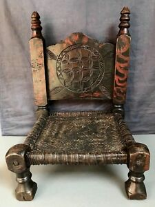 Antique Vintage Indian Wooden Furniture Traditional Tribal Pidha Low Chair