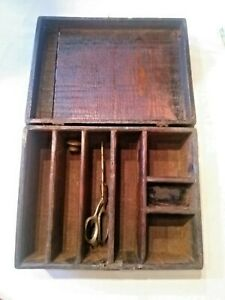 Antique Tramp Art Box Chest 1800 S Wooden Primitive Art Old Sewing Pin Cushion