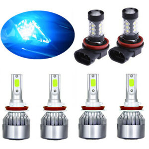 8000k Ice Blue Cob Led Headlight Hi low fog Light Kit For Nissna Rogue 14 18 6x