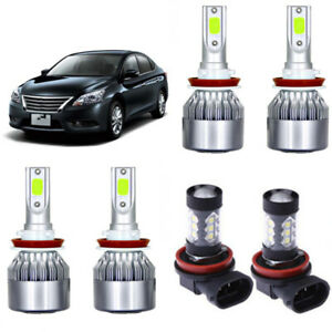 8000k Ice Blue Cob Led Headlight Hi low fog Light Kit For Nissan Sentra 04 18