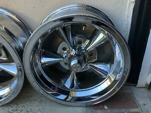 Vintage 14x7 Aluminum 5 Spoke Chevy Wheels Polished American Racing
