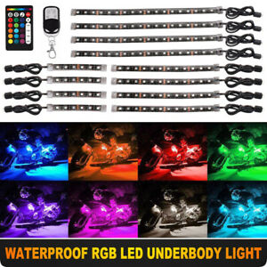 12pcs Rgb 15 color Waterproof Flexible Strip Motorcycle 5050led Light Kit Remote