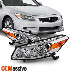 Pair Headlight Replacement For 2008 2012 Honda Accord 2door Coupe Halogen Chrome
