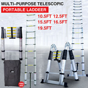 Portable Ladder Telescoping Extension Aluminum Folding All Purpose Variable Step
