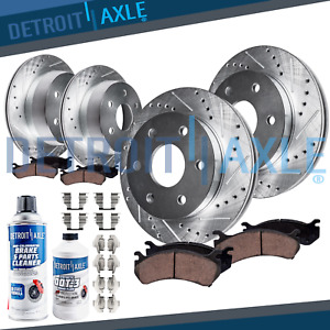 2007 Tahoe Escalade Avalanche Front Rear Drilled Brake Rotors Ceramic Pads