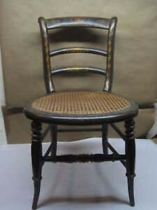 Antique 19th Century Chair Child Doll Chair Hand Painted Cane Seat All Original