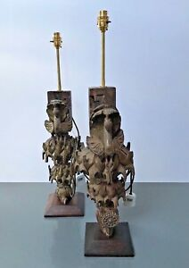 Large Antique Vintage Indian Intricately Hand Carved Peacock Table Lamps