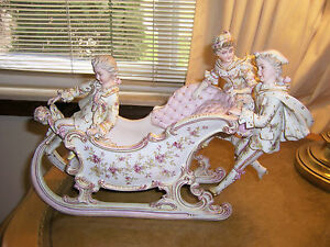 Rare Antique French Victorian Style Sleigh Large Porcelain W 3 People Stunning