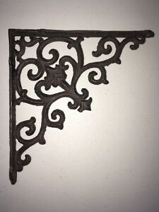 Tuscan Cast Iron Corner Shelving Bracket Antique Style 9 1 2 X 9 1 2 New