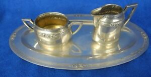 Antique 800 Silver Germany Demi 3 Pcs Sugar Creamer Tray