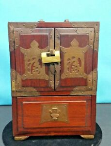 Antique Korean Miniature Cherry Wood Cabinet Wood Chest W Bronze
