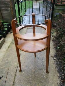 Beautiful Oak And Brass Antique Arts And Crafts Tripod Plant Stand Jardinaire