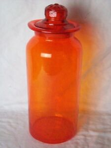 Antique Free Blown Glass Apothecary Jar Candy Store Canister Rare Orange Color
