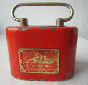 Antique Vintage Old Red Advertising Money Saving Cash Box Metal Still Bank