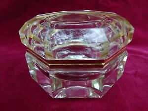 Vintage French Crystal Trinket Vanity Box Slant Panel 8 Sides Octagon Art Deco