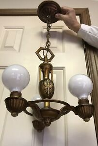Vintage Art Deco Cast Iron Antique Ceiling Light Fixture Chandelier 3 Pronged
