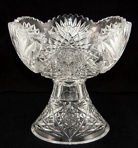 American Brilliant Punch Bowl Cut Glass Crystal Egg Nog Fruit Bowl 9 X 8 75