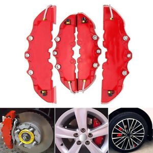 4 Auto Disc Brake 3d Cars Parts Caliper Covers Kit Front Rear Red Universal T1s9