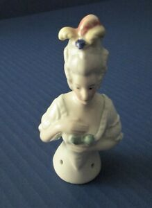 Antique Half Doll Pincushion Top Porcelain Germany Sewing Rare 6345