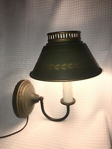 Vintage Tole Electric Light Lamp Wall Sconce Avocado Green Gold Works Art Deco