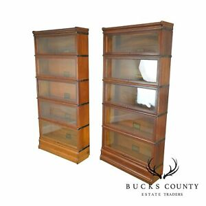 Globe Wernicke Antique Oak Pair Of Five Stack Barristers Bookcases