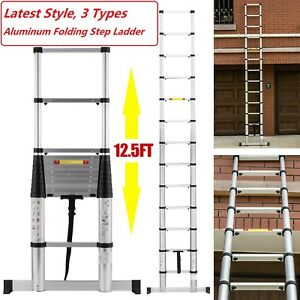 12 5ft Telescoping Extension Ladder Aluminum Folding Portable Adjustable Ladder