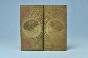 Antique Flemish Art Pyrography Hankerchief Box Factory Stamped Gibson Girl 05643