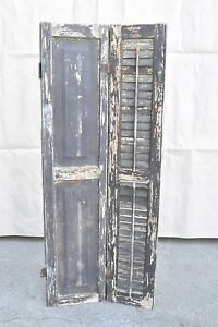 Antique 1880s Solid Wood Paneled Louvered Bifold Shutter W Hinge Lock 06406