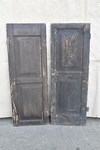 Antique 1880 S Solid Wood Paneled Shutters W Hinges Locking Mechanism 06405