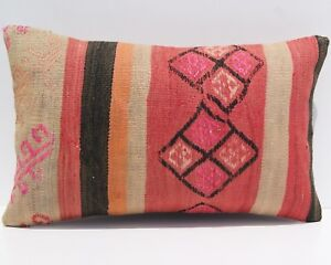 Rectangle Persian Kilim Pillow Cover Handmade Vintage Case Kelim Area Rug 20x12