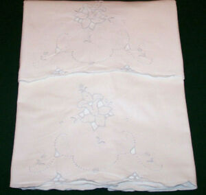 Vintage Madeira Embroidered Pillowcases Blue Floral Embroidery Cutwork C1940