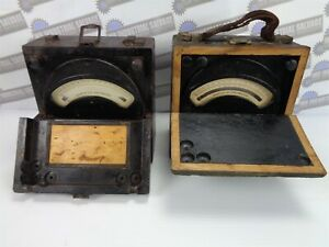 2 Meters Early 1900 s Antique Weston Voltmeter For Dc Circuits wooden Box