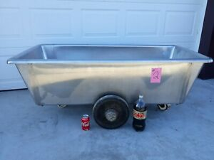 Stainless Steel Butcher Meat Tub On Rollers approximately100 Gallon 2