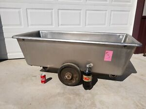 Stainless Steel Butcher Meat Tub On Rollers approximately 100 Gallon 3