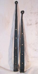Antique Hand Forged Pair Of Strap Hinges Pin Pintle Barn Shed House Door Long