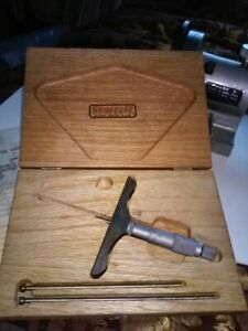 Starrett No 445 Depth Gage 0 3 Wood Case