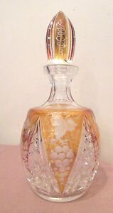 Quality Antique Engraved Cut To Clear Czech Bohemian Crystal Glass Decanter