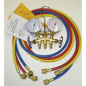 A c Refrigeration 2 way Manifold Guage Set W 36in Hoses Fittings Hvac Part 33636