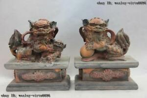 China Old Wood Handmade Carved Color Tracing Feng Shui Evil Fu Foo Dog Lion Pair