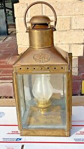 Antique Viking Ship Kerosene Oil Lamp Lantern Nautical Brass Large 1900s Salvage