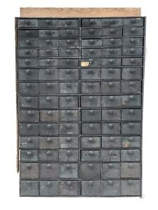 19th C Primitive Apothecary General Store Make Do 84 Drawer Cabinet
