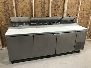 True 93 Refrigerated 3 Door Stainless Pizza Prep Table Refrigerator Tpp 93
