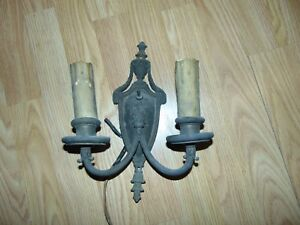 Vintage Brass Double Candle Wall Sconce Electric Light Fixture Restoration Parts